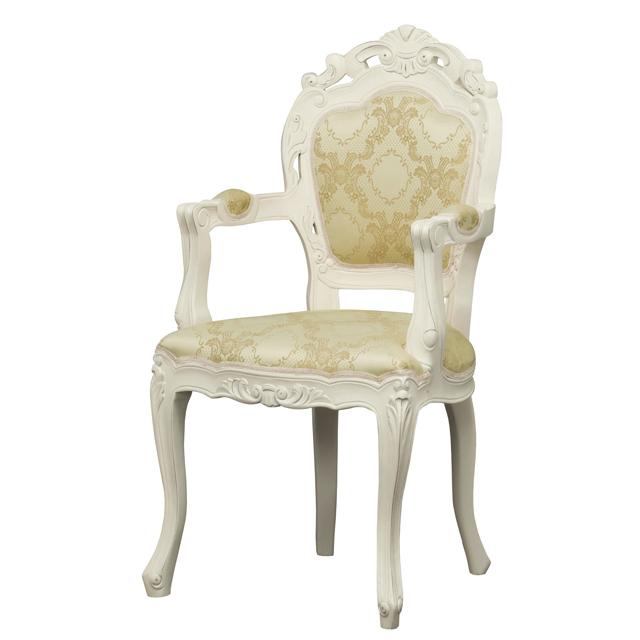 ダイニングチェアー 肘付き ホワイト 白 木製 ヨーロッパ調 食堂椅子 食堂チェアー 食卓チェアー 食卓椅子 カウンターチェアー いす イス カフェチェアー