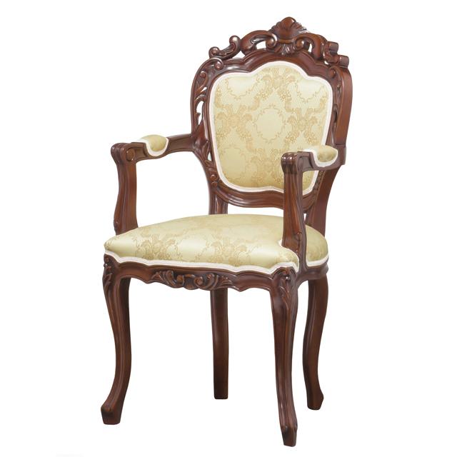 ダイニングチェアー 肘付き ブラウン 茶 木製 ヨーロッパ調 食堂椅子 食堂チェアー 食卓チェアー 食卓椅子 カウンターチェアー いす イス カフェチェアー