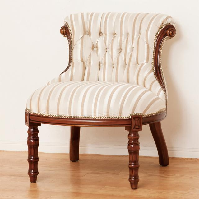 1人掛けソファー 幅65cm ブラウン 茶 ファブリック 布張り製 ヨーロッパ調 1人用ソファー 一人掛けソファー 一人用ソファー そふぁー シングルソファー コンパクトソファー
