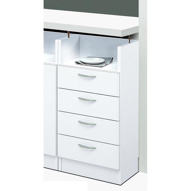 カウンター下収納 完成品 向かって右側 幅40cm ホワイト 白 木製 シンプル キッチンカウンター キッチンキャビネット キッチン収納 ダイニングボード キッチンボード 国産品 日本製