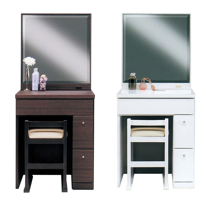 Dresser Doressaa Vanity Dressing Table 1 Side Mirror Stool Width 60 Cm Dark Brown Wood Modern