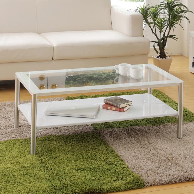 センターテーブル ローテーブル 幅100cm 天板ガラス モダン 棚付き ホワイト