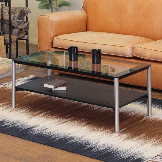 センターテーブル ローテーブル 幅100cm 天板ガラス モダン 棚付き ブラック
