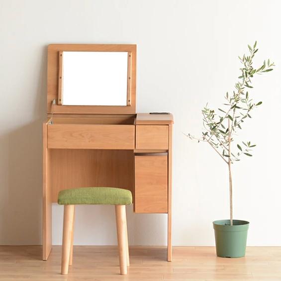 ドレッサー 化粧台 鏡台 どれっさー スツール付き ナチュラル 木製 北欧風