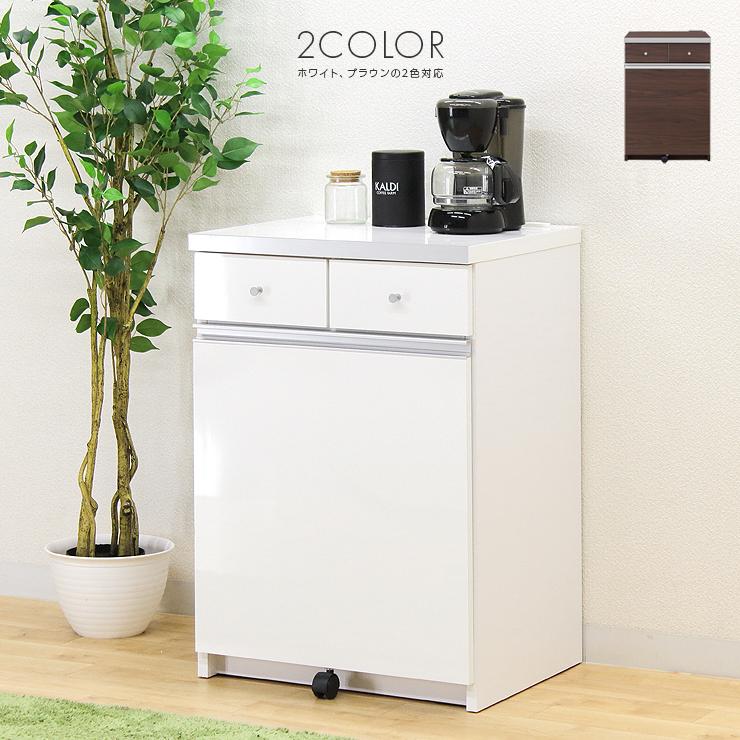 ダストボックス ダストカウンター キッチンカウンター 2分別用 ゴミ箱 おしゃれ 完成品 木製 モダン 幅55cm 55cm幅 55幅 ホワイト 白 ナチュラル ブラウン シルバー 国産品 日本製