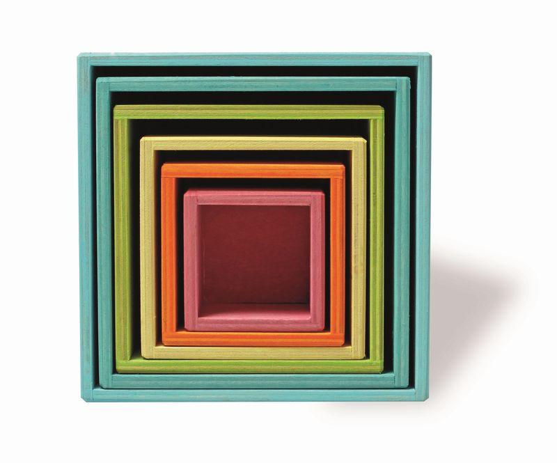 【すぐに使えるクーポン配布中】グリムス社 はめこ・四角パステル SH10369 【木のおもちゃ 積み木 つみき 積木 木製玩具 知育玩具 出産祝い お誕生日】