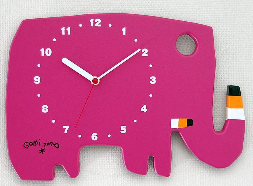 【すぐに使えるクーポン配布中】五味太郎 クロック 掛け時計 ゾウ ローズピンク