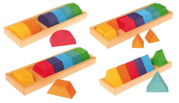 【最大1200円OFFクーポン配布中】グリムス社 GM色と形つみき(4種) 木のおもちゃ 知育玩具 積み木 つみき GM10066