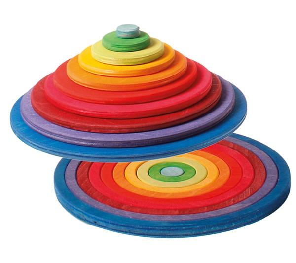 【すぐに使えるクーポン配布中】グリムス社 円盤とリング 木のおもちゃ 知育玩具 積み木 つみき GM10677
