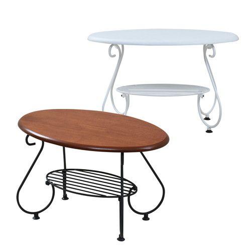 センターテーブル ローテーブル おしゃれ 北欧 アンティーク 姫系 楕円 木製 リビングテーブル コーヒーテーブル 応接テーブル 65×40