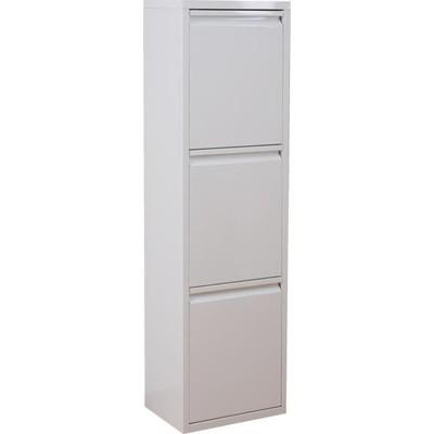 ダストボックス ゴミ箱 ごみ箱 くずかご キッチン リビング おしゃれ 3分別 3段 三段 ホワイト 20L 20 20リットル 蓋付き 20l 分別 薄型 ふた付き 蓋 つき 縦型