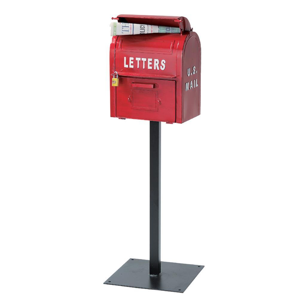 郵便ポスト ポスト 郵便受け 玄関 設置 屋外用 おしゃれ 置き型 スタンド スタンド型 自立 鍵付き 表札 赤 北欧 アンティーク 北欧 アメリカン 新聞受け