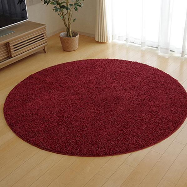 シャギーラグ シャギー ラグ ラグマット カーペット マット 厚手 おしゃれ 北欧 安い 日本製 床暖房 床暖房対応 180 丸型 丸 円 円形 3畳 レッド