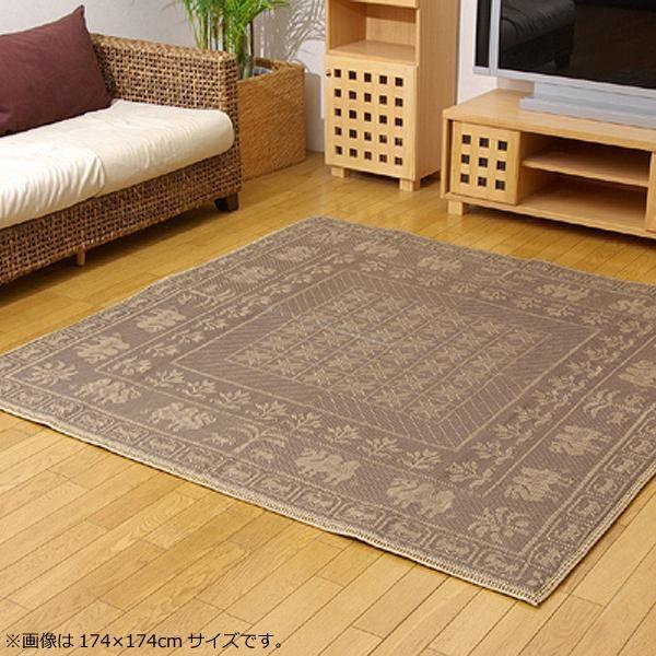 ラグ ラグマット ダイニングラグ マット 絨毯 カーペット じゅうたん 厚手 おしゃれ 北欧 安い ふかふか ふわふわ 174×174 江戸間 2畳 ブラウン