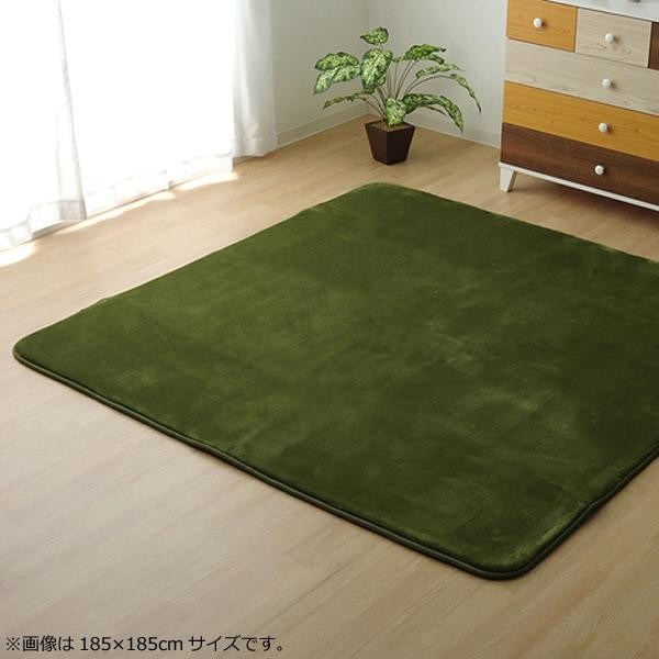 ラグ ラグマット ダイニングラグ マット 絨毯 カーペット じゅうたん 厚手 おしゃれ 北欧 安い フランネル フランネルラグ 低反発 床暖房 185×185 3畳 グリーン