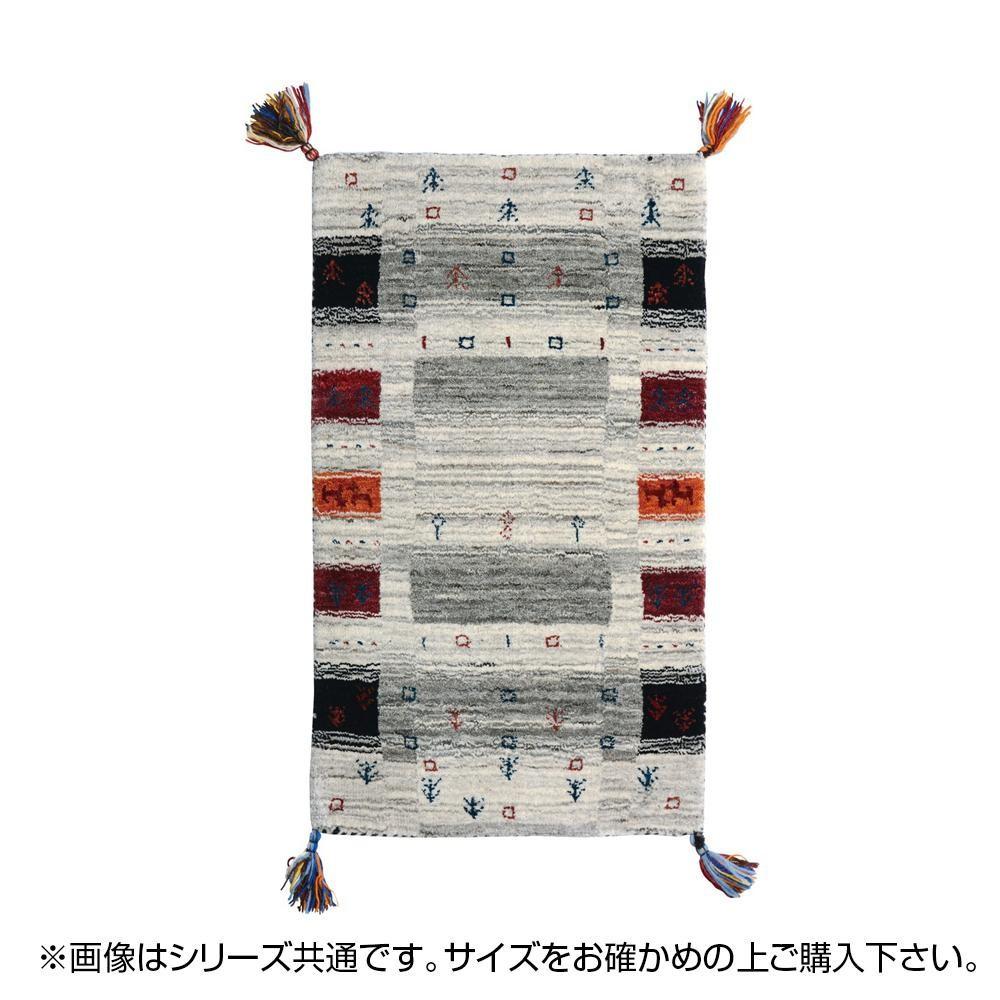 ラグ カーペット おしゃれ ラグマット 絨毯 厚手 極厚 キリム柄 ネイティブ ギャッベ ギャベ 玄関マット 室内 北欧 ウール 夏 70×120 1畳 グレー