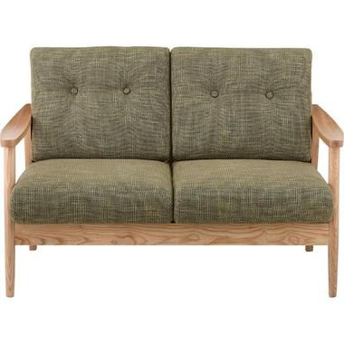 ソファー ソファ 2人掛け 二人掛け 2人用 二人用 コンパクト 小さめ ミニ おしゃれ 北欧 安い カフェ リビング ふかふか ダイニングベンチ 椅子 背もたれ 布 ファブリック 肘付き グリーン 緑