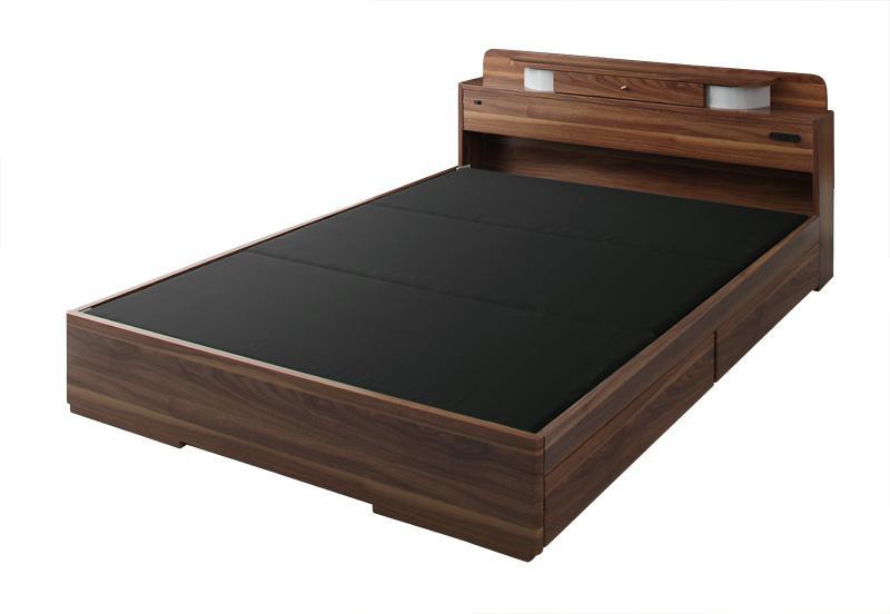 ベッド ベット 安い ダブル ダブルベッド ダブルベット ダブルサイズ ライト コンセント付き 収納付き ( フレームのみ ) ブラウン