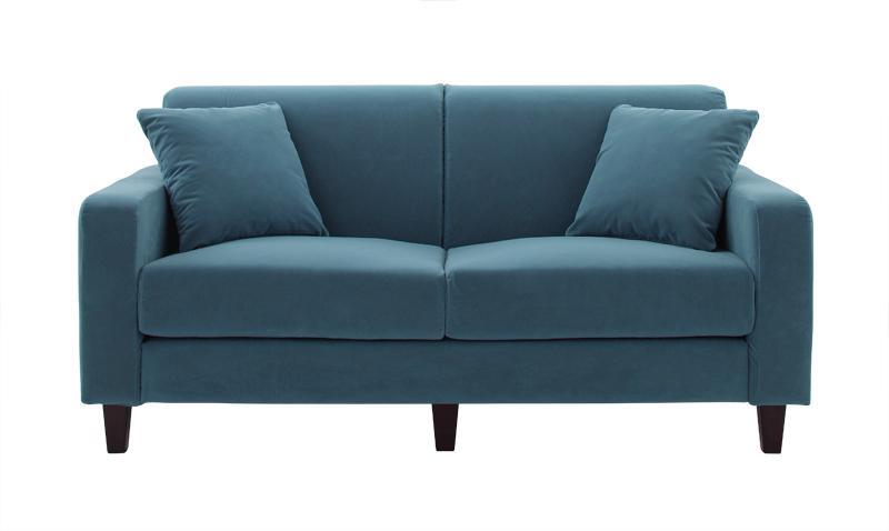 ソファー ソファ 2人掛け 二人掛け 2人用 二人用 おしゃれ 布 ファブリック 北欧 リビング 座椅子 ローソファ カバー付き  ( スタンダード(幅160) Rブルー 青 角錐/DB )
