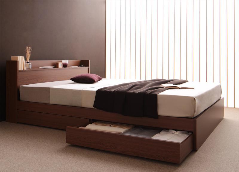 ベッド ベット 安い ダブル ダブルベッド ダブルベット ダブルサイズ 棚 コンセント付き 収納付き ( ポケット マットレス付き / ハード ) ブラウン