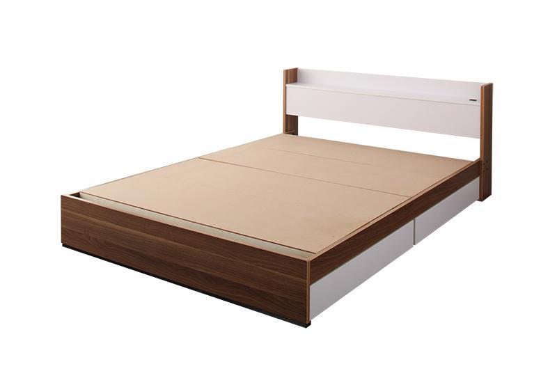 ベッド ベット 安い シングル シングルベッド シングルベット シングルサイズ 棚 コンセント付き 収納付き ( フレームのみ ) ウォルナット×ホワイト 白