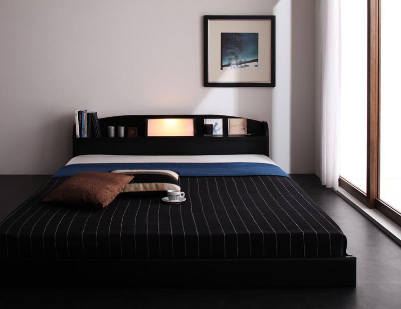 ベット 安い ダブル ダブルベット ダブルサイズ ライト 棚 宮 ( フレームのみ ) ブラック 黒