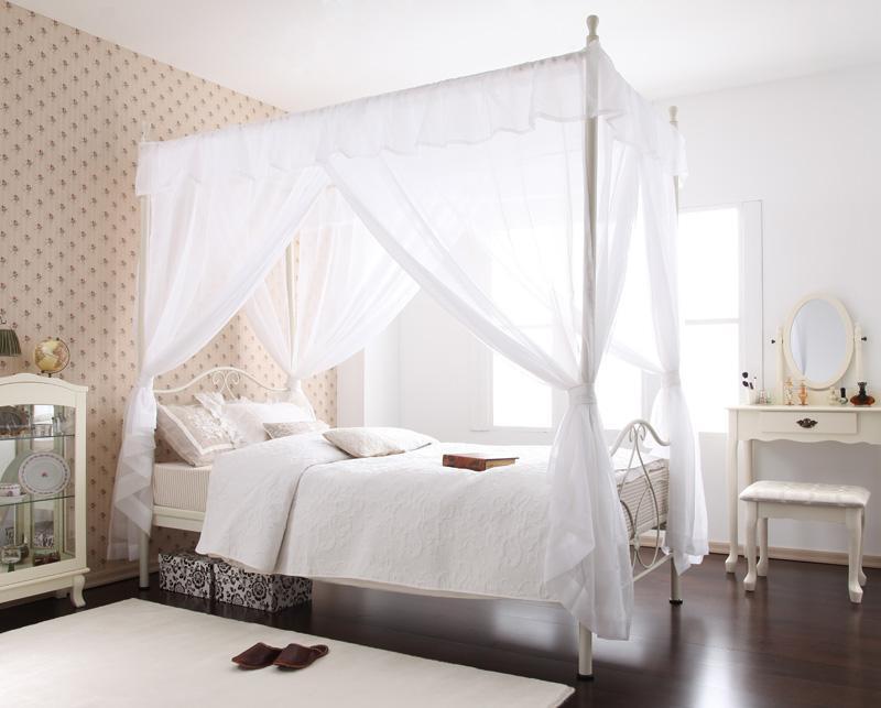 ベッド ベット 安い シングル シングルベッド シングルベット シングルサイズ 姫系 パイプベッド 天蓋 カーテン 付き ( ボンネル マットレス付き ) ホワイト 白