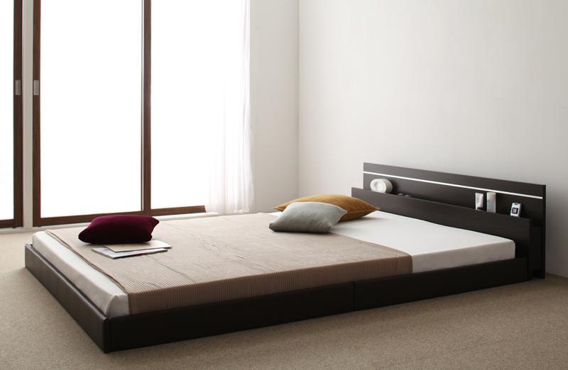 ベット 安い セミダブル セミダブルベット セミダブルサイズ ライト コンセント付き ( 日本製 ポケット マットレス付き ) ダークブラウン