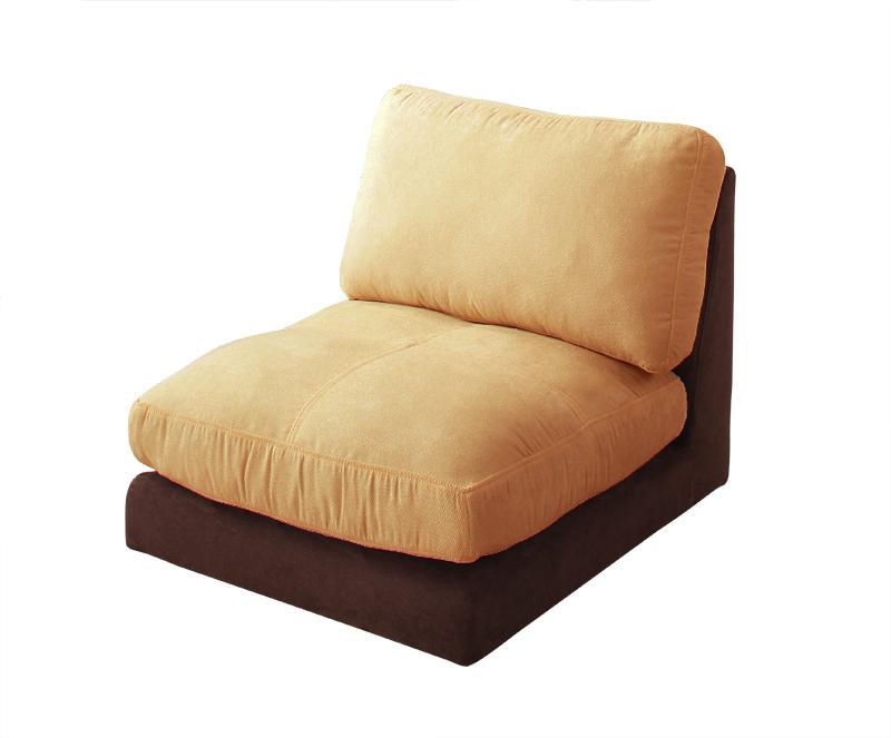 ソファー ソファ 1人掛け 一人掛け 1人用 一人用 一人暮らし おしゃれ 布 ファブリック 北欧 リビング 座椅子 ローソファ  (単品)1P 肘無 ベージュ×ブラウン )