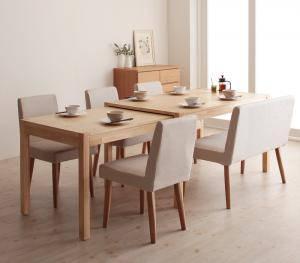 ダイニングセット ダイニングテーブルセット 6人 六人 6人用 六人用 椅子 ダイニングテーブル ベンチ おしゃれ 伸縮 伸縮式 伸長式 安い 北欧 食卓 ( 6点(テーブル+チェア4脚+ソファベンチ1脚)幅135-235 )