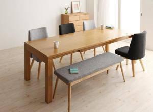 ダイニングセット ダイニングテーブルセット 6人 六人 6人用 六人用 椅子 ダイニングテーブル ベンチ おしゃれ 伸縮 伸縮式 伸長式 安い 北欧 食卓 ( 6点(テーブル+チェア4脚+ベンチ1脚)幅145-205 )