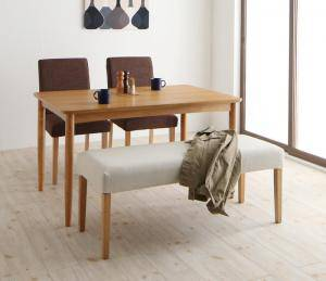 ダイニングテーブルセット 4人用 椅子 ベンチ おしゃれ 安い セール特価 北欧 食卓 4点 木製 机+チェア2+長椅子1 幅120 ミッドセンチュリー スタイリッシュ クール 無料サンプルOK オーク デザイナーズ