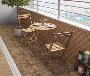 ガーデンテーブル + ガーデンチェア 椅子 セット 屋外 カフェ テラス ガーデン 庭 ベランダ バルコニー アジアン( 3点(テーブル+チェア2脚)丸テーブル幅60 )