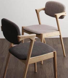ダイニングチェア 2脚 椅子 おしゃれ 北欧 安い アンティーク 木製 シンプル ( 食卓椅子 ) 座面高44 無垢 ファブリック 背もたれ 肘付き シートクッション コンパクト 小さめ モダン スタイリッシュ クール