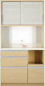 食器棚 おしゃれ 北欧 安い キッチン 収納 棚 ラック 木製 大容量 カップボード ダイニングボード ( 設置有 キッチンボード 幅100 高さ193 )