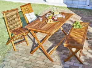 ガーデンテーブル + ガーデンチェア 椅子 セット 屋外 カフェ テラス ガーデン 庭 ベランダ バルコニー アジアン( 4点(テーブル+チェア2脚+ベンチ1脚)幅120 )