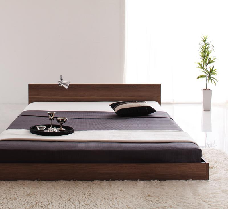 ベッド セミダブル ローベッド ロータイプ 低い フロアベッド 低床 フラット ヘッドボード 薄型 板 フレーム 北欧 おしゃれ モダン ヴィンテージ メンズ PポケットCマットレス付き