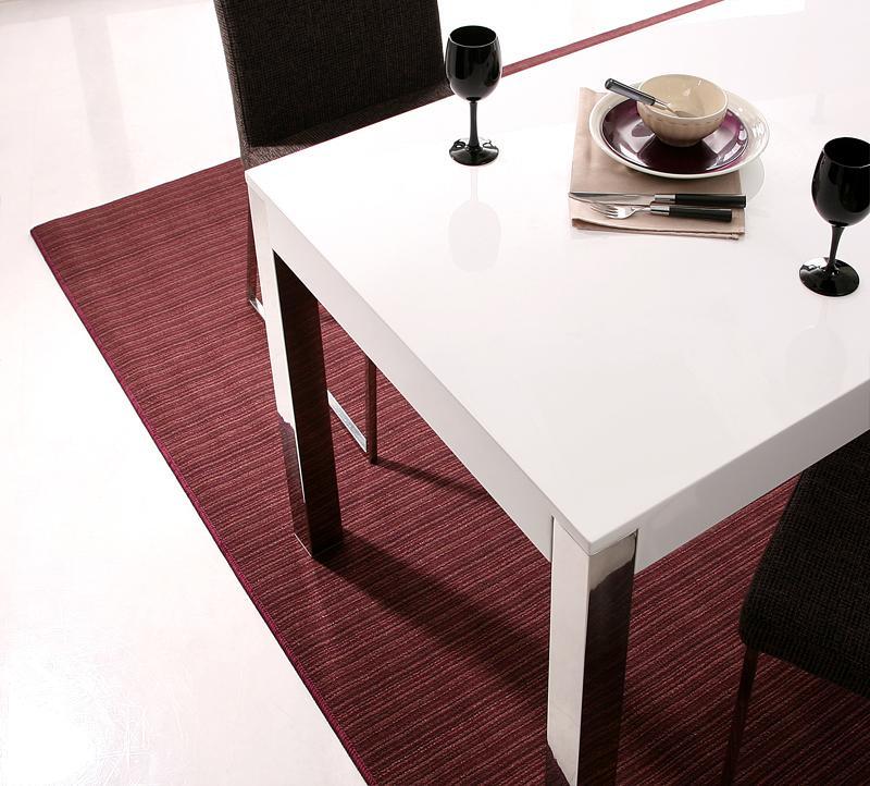 ダイニングテーブル 食卓 (幅160) 【 グロッシーホワイト 白 】【食卓 木製 おしゃれ かわいい 北欧 リビングテーブル 折りたたみ 伸縮 無垢 ウォールナット 正方形 丸 低め ガラス 送料無料】