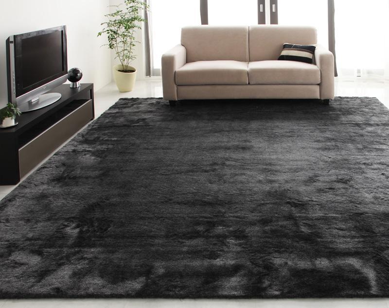 ラグ カーペット おしゃれ ラグマット 絨毯 北欧 ファーラグ じゅうたん 安い 4畳半 5畳 ブラック 黒 マット ふわふわ 厚手 極厚 ふかふか 261×261 防音