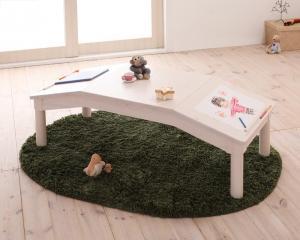 センターテーブル ローテーブル カジュアル ポップ キュート 天然木 テーブル ナチュラル ブラウン 茶色 ホワイト 白