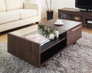 ローテーブル ディスプレイ 棚 ウォールナット 日本製 国産 ほぼ 完成品 センターテーブルダーク ブラウン 茶色 ウォールナット