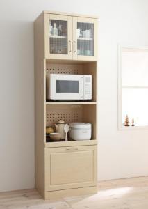 カントリー キッチン収納 レンジ台 炊飯器 ジャー ポット 食器棚 キッチンストッカー カップボード 幅60 高さ180 ナチュラル