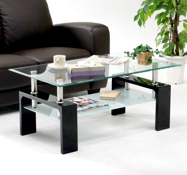 センターテーブル ローテーブル ディスプレイ 棚付き ブラック 黒 【 ガラステーブル ガラス リビングテーブル ダイニングテーブル ちゃぶ台 サイドテーブル コーヒーテーブル 送料無料 送料込 ポイント 】