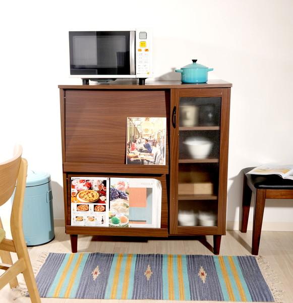 食器棚 おしゃれ 北欧 安い キッチン 収納 棚 ラック 木製 大容量 カップボード ダイニングボード ダークブラウン 幅90 奥行43 高さ96