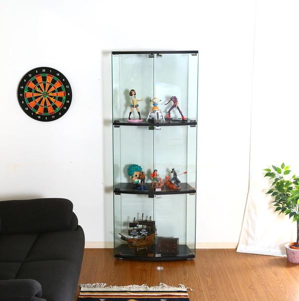 コレクションケース キャビネット ガラス ショーケース アンティーク 薄型 フィギュア ディスプレイ 棚 ディスプレイケース コレクションラック ブラック 幅60 奥行30 高さ152