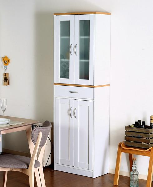 食器棚 おしゃれ 北欧 安い キッチン 収納 棚 ラック 木製 大容量 カップボード ダイニングボード ナチュラル×ホワイト 幅59 奥行29 高さ182