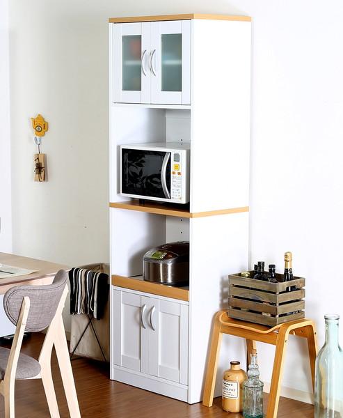 食器棚 おしゃれ 北欧 安い キッチン 収納 棚 ラック 木製 大容量 カップボード ダイニングボード ナチュラル×ホワイト 幅59 奥行39 高さ182