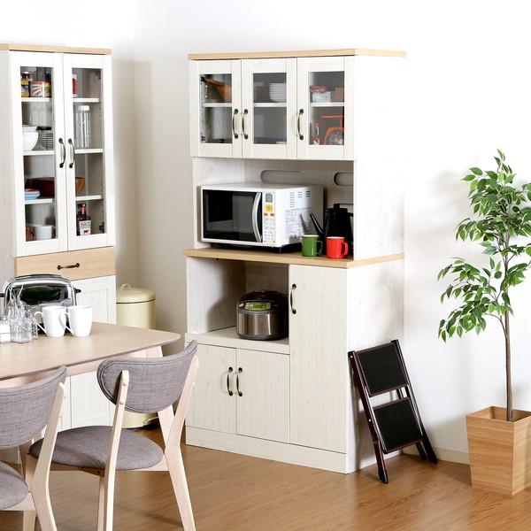 食器棚 おしゃれ 北欧 安い キッチン 収納 棚 ラック 木製 大容量 カップボード ダイニングボード ナチュラル×ホワイト 幅90 奥行48 高さ180
