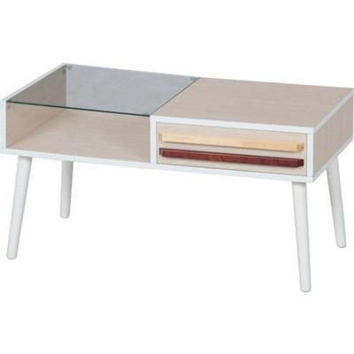 センターテーブル ローテーブル 棚付き ディスプレイ リビングテーブル ホワイト 白 【 ガラステーブル ガラス ダイニングテーブル ちゃぶ台 サイドテーブル コーヒーテーブル 座卓 送料無料 送料込 】