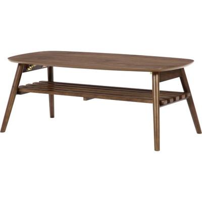 センターテーブル ローテーブル 楕円 オーバル 折れ脚 折りたたみ 棚付き 【 木製テーブル 木製 リビングテーブル ダイニングテーブル ちゃぶ台 サイドテーブル コーヒーテーブル 送料無料 送料込 ポイント 】 ブラウン 茶色